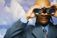 Looking through binoculars, future, predictions